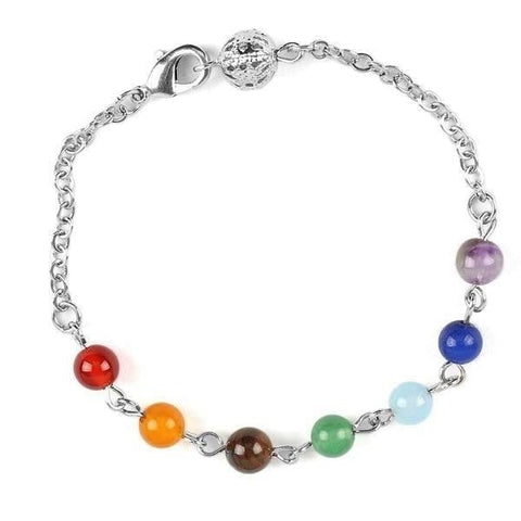 Chakra Healing Reiki Bracelet Silver Chain Yoga Spiritual Metaphysical New Age Raw Crystal Gemstone Alternative Medicine Rainbow Beaded Arcane Trail