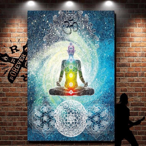 Meditation Buddha Yoga Chakra System Wall Tapestry Art Hanging Home Decor Swirling Universe Rainbow Mandala Sacred Geometry Namaste by Arcane Trail