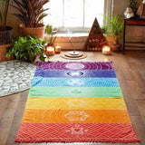 Meditation Rainbow Chakra System Floor Mat Yoga Wall Tapestry Art Hanging Home Decor Mandala Sacred Geometry Namaste by Arcane Trail