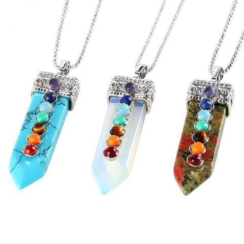 Chakra Wand Pendant Necklace Crystal Healing Powerful Pointed Rainbow Raw Stone Jewelry by Arcane Trail