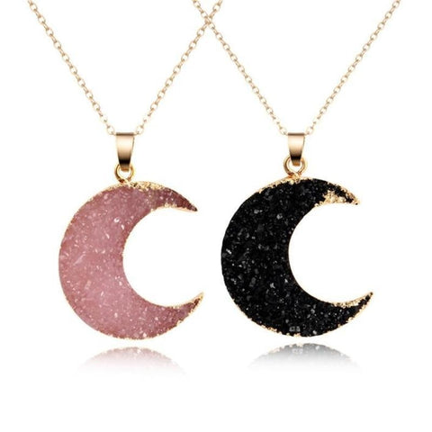 Druzy Moon Pendants - Necklace