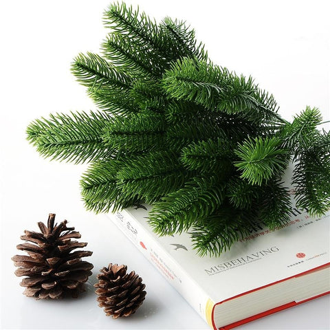 Green Artificial Fir Pine Tree Branches Christmas with Pinecones Simulated Fake Plants by Arcane Trail