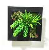 Green Artificial Succulent Plant Wall Hanging Art Framed Picture Frame Home Decor Simulation Fake Cactus Planters Terrarium Pots Garden by Arcane Trail