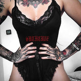 Gothic Black Babydoll Onesie Bodysuit Romper Lace Frilly Bow Dark Witchy Fashion