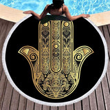 Black Hamsa Mandala Area Rug Beach Towel Floor Yoga Mat Spiritual Reiki Chakra Healing Hindu Indian by Arcane Trail