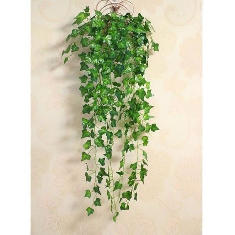 Green Artificial Hanging English Ivy Plant Leaves Bunches Simulated Fake Trees Planters by Arcane Trail