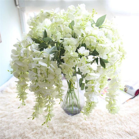 Hanging Wisteria Flowers - White (1 Piece) - Plants