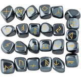 Black Hematite Crystal Engraved Rune Stone Set Divination Witchcraft Pagan Occult Psychic Reading Nordic Alphabet | Arcane Trail