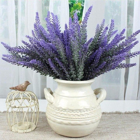 Blue Lavender Bunches Dried Herbs Artificial Plant Simulation Fake Herbal Planter Pots by Arcane Trail