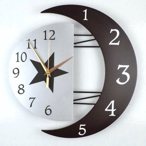 Modern Moon Lunar Wall Clock Futuristic Star Witchy Witchcraft Pagan Goth Occult by Arcane Trail