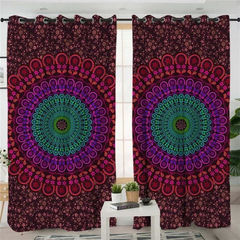 Red Blue Mandala Flower Curtains Set Window Treatments Fabric Spiritual Reiki Chakra Healing by Arcane Trail