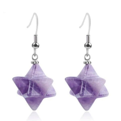 Purple Amethyst Crystal Merkaba Dangle Earrings Drop Sacred Geometry Metaphysical New Age Esoteric Reiki Healing Jewelry by Arcane Trail