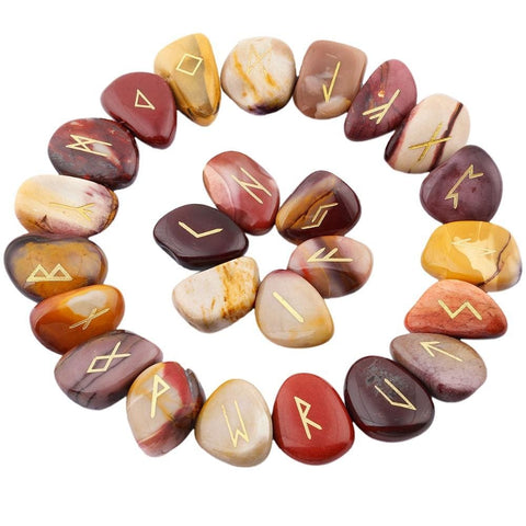 Mookaite Engraved Rune Stone Set Divination Witchcraft Pagan Occult Psychic Reading Nordic Alphabet | Arcane Trail
