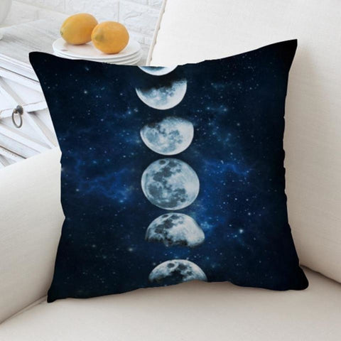 Blue Moon Phases Eclipse Throw Pillow Cushion Cover Pillowcase Witchcraft Wicca Symbols  by Arcane Trail