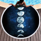 Blue Moon Phases Eclipse Area Rug Tapestry Floor Yoga Mat Beach Towel Witchcraft Wicca Symbols  by Arcane Trail