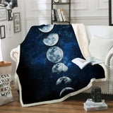 Blue Moon Phases Galaxy Sherpa Fleece Blanket Fuzzy Soft Throw Spiritual Witchcraft Wicca Goddess by Arcane Trail