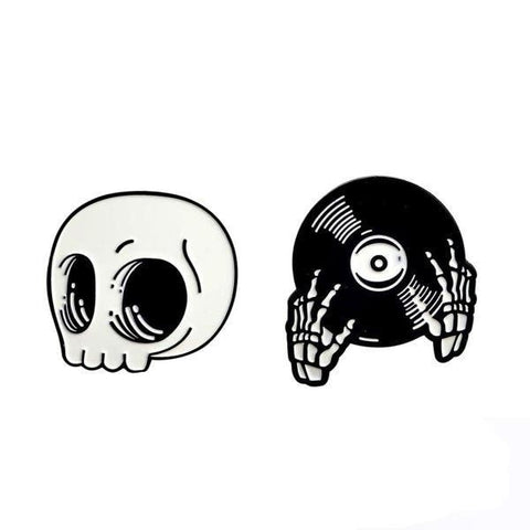 Creepy Cute Skeleton Hand Skull ENamel Pin Brooch Lapel Pins Set Music Player Goth Jewelry by Arcane Trail