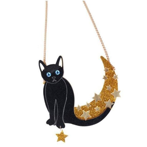 Mystic Cat Necklace Pendant Statement Jewelry Large Spooky Halloween Glitter Gold Moon by Arcane Trail
