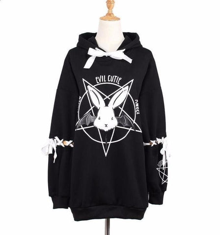Evil Cute Pentagram Bunny Rabbit Bat Wing Hoodie Sweatshirt Sweater Lace Up Corset Sleeves Witchcraft Wicca Witch Goth Fashion by Arcane Trail