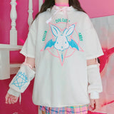 Evil Cute Pentagram Bunny Rabbit White Bat Wing Hoodie Sweatshirt Sweater Lace Up Corset Sleeves Witchcraft Wicca Witch Fairy Kei White Fashion by Arcane Trail