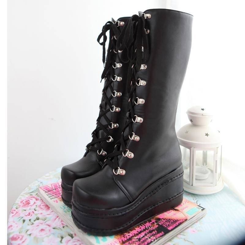 6e224c4dc8e Chunky Platform Motorcycle Combat Boots Wedge Heel