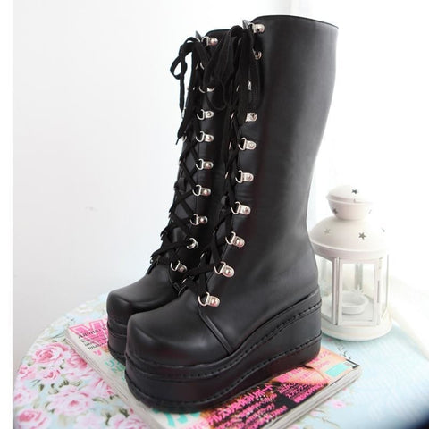 Platform Moto Boots - Black / 4 - Shoes