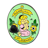 Please Kill My Enemies God Enamel Pin Lapel Brooch Green Cactus Plants Praying To God Evil Cute Sarcastic Cynical Dark by Arcane Trail
