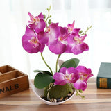 Potted Artificial Purple Orchid Flower Planter Pot Fake Simulated Plants by Arcane Trail