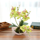 Potted Artificial Yellow Orchid Flower Planter Pot Fake Simulated Plants by Arcane Trail
