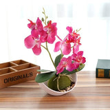 Potted Artificial Pink Orchid Flower Planter Pot Fake Simulated Plants by Arcane Trail