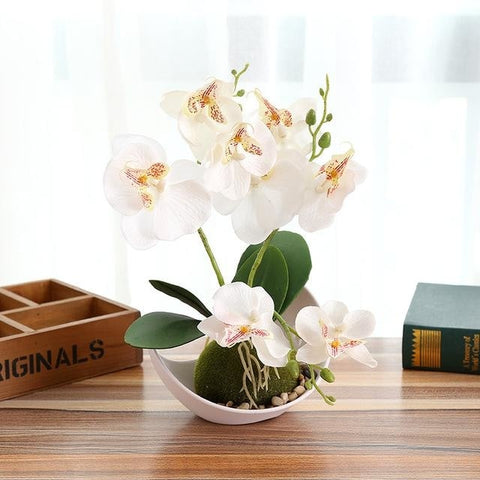Potted Artificial White Orchid Flower Planter Pot Fake Simulated Plants by Arcane Trail