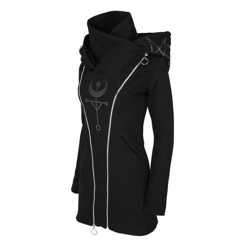 Occult Double Zipper Cowl Hoodie