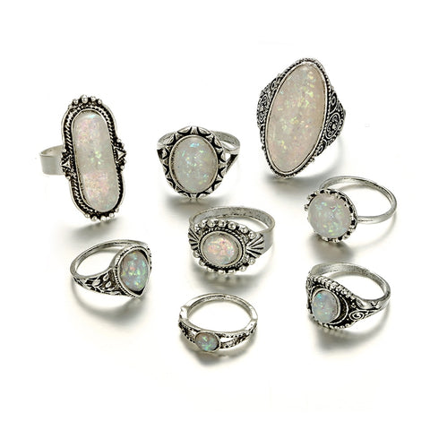 8 Piece Opal Goddess Ring Set