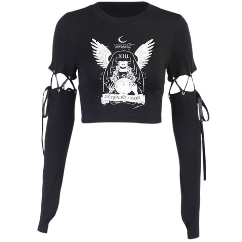 Memento Mori Lace Up Crop Top