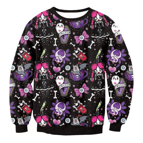Spooky Ghost Pastel Goth Crewneck Sweater Long Sleeve Sweatshirt Bats Halloween Coffins Cute