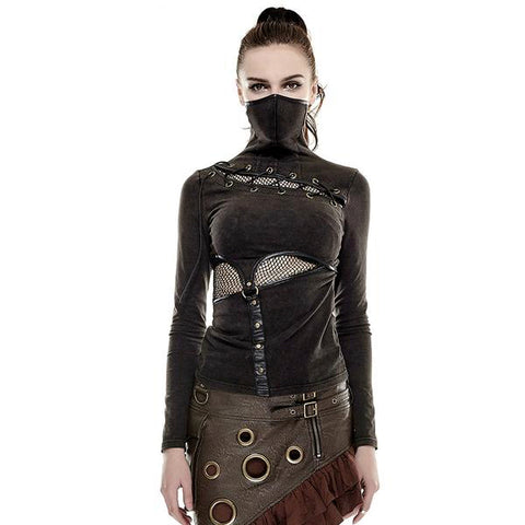 Steampunk Mask Long Sleeve Top Shirt Sweater DIesel Punk Rock Edgy Gothic Fashion Buckles Belts