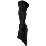 Black Cowl Hooded Robe Dress Long Sleeve Witch Coat Jacket Witchcraft Pagan Occult Satanism Ritual Goth Fashion