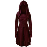 Maroon Red Cowl Hooded Robe Dress Long Sleeve Witch Coat Jacket Witchcraft Pagan Occult Satanism Ritual Goth Fashion