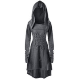 Dark Heathered Grey Hooded Robe Dress Long Sleeve Witch Coat Jacket Witchcraft Pagan Occult Satanism Ritual Goth Fashion