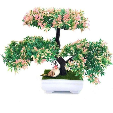 Artificial Pink Bonsai Tree Triple Branches Fake Simulation Plants Small Bird by Arcane Trail