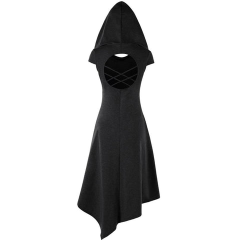 Black Cowl Hooded Robe Dress Short Sleeve Witch Coat Jacket Witchcraft Pagan Occult Satanism Ritual Goth Fashion