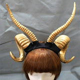 Gold Satan Demon Devil Ram Horns Headpiece Headband Occult Darkness Pagan 666