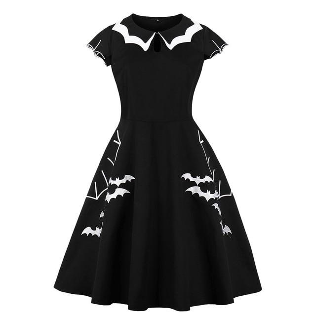 2702ddea9da Black Bat Queen Gothic Dress Wednesday Addams Family Halloween Spooky