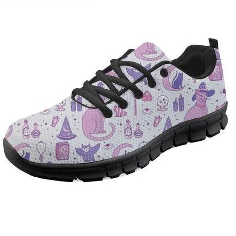 Mystic Witch Spooky Pastel Goth Sneakers Shoes Lace Up Occult Pagan Footwear