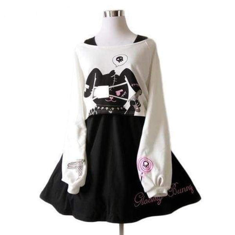 Goth Evil Bunny Long Sleeve Dress Winter Warm Cozy Gothic Kawaii Fashion by DDLG Playground