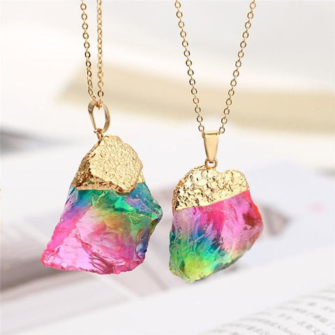 Rainbow Quartz Crystal Pendant Necklace Metaphysical NEw Age Spiritual Healing Gold Dipped by Arcane Trail