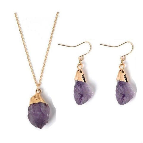 Purple Amethyst Crystal Pendant Necklace & Earrings Jewelry Set Metaphysical NEw Age Spiritual Healing Gold Dipped by Arcane Trail