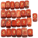 Red Jasper Engraved Rune Stone Set Divination Witchcraft Pagan Occult Psychic Reading Nordic Alphabet | Arcane Trail