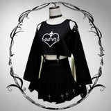 black gothic resurrection witchcraft outfit dress crosses new age spirituality 666 satan worship goth fashion skirt top long sleeve bell sleeves by kawaii babe
