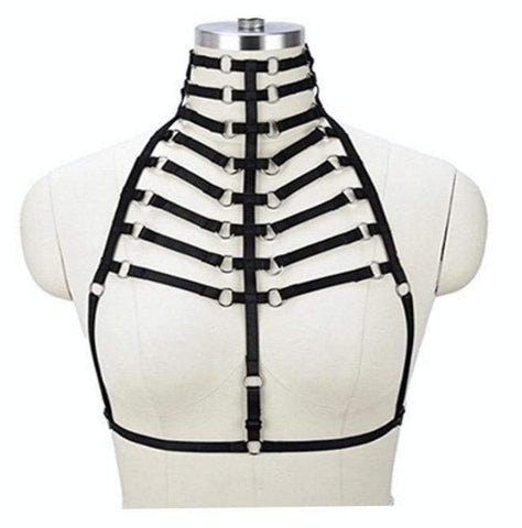 sexy bondage ribcage harness bdsm kink fetish lingerie strappy vegan leather  choker o ring sex by ddlg playground